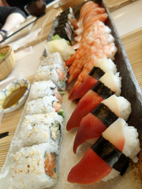 Assorted sushi and sushi rolls